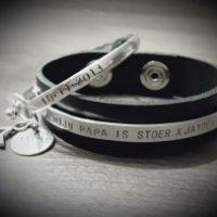 Stoere papa armband en mooie Birth bracelet